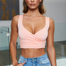 Women Pink Trendy Bralette Crop Tank Top Deep V Neck Ruched Backless Sexy Tops 2019 Summer Sleeveless Woman Fitness Vest Gym Bra