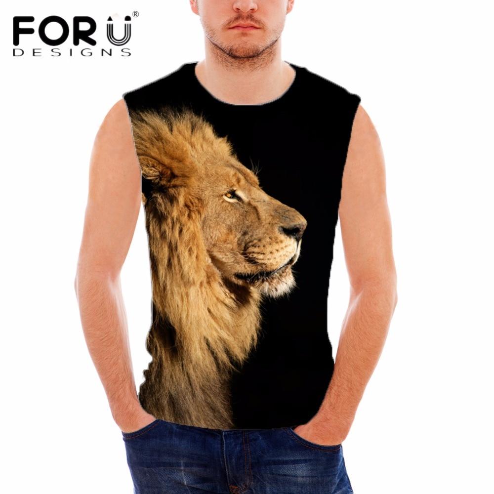 FORUDESIGNS Cool 3D Animal Lion Printing Man Tank Top Black Vests for Male Vest Bodybuilding Fitness Slim Fit Soft Men Tanks Top