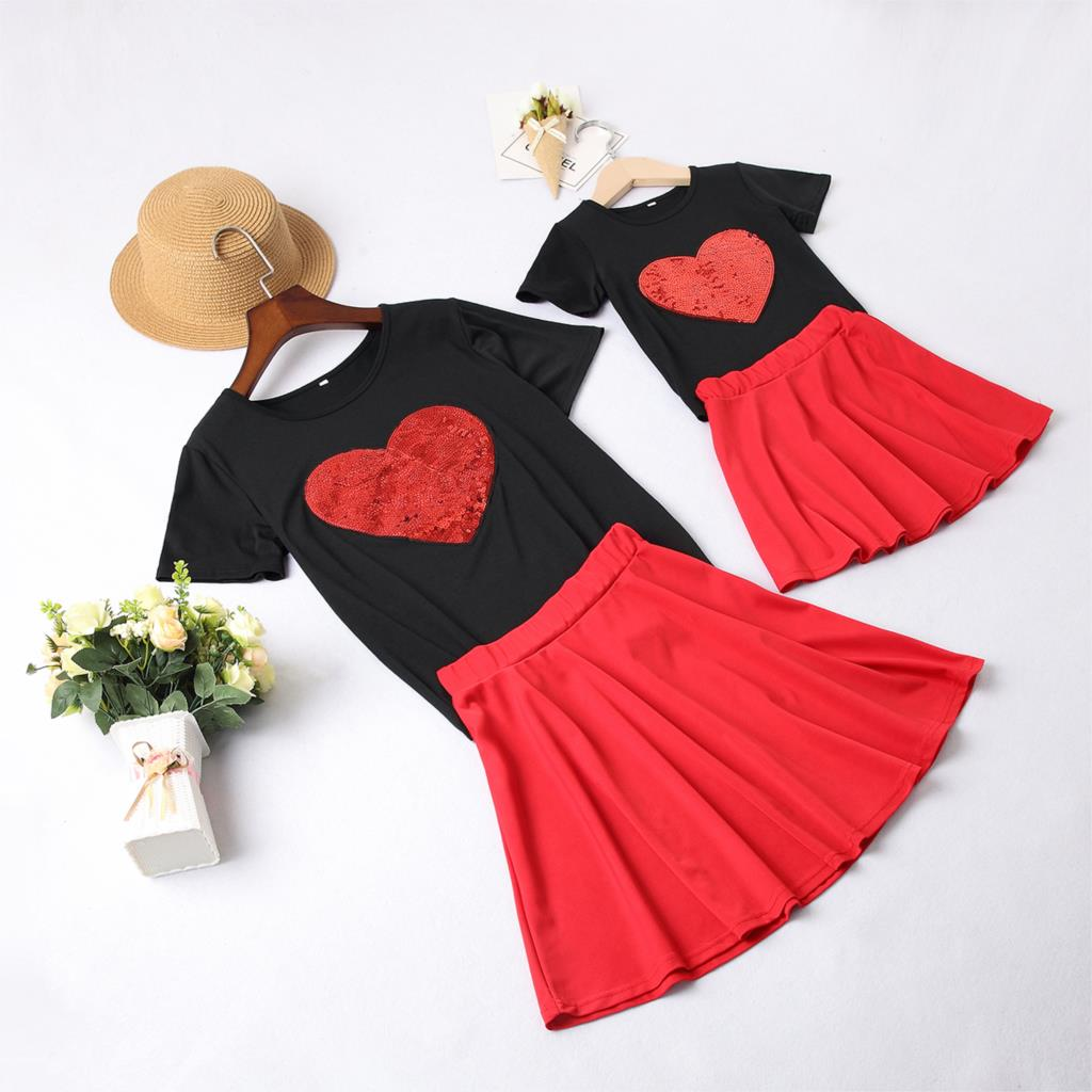 2pcs Mother And Daughter Dresses Sequin Heart Mommy And Me Clothes Family Look Mom Mum Baby Girls Dress Family Matching Clothes