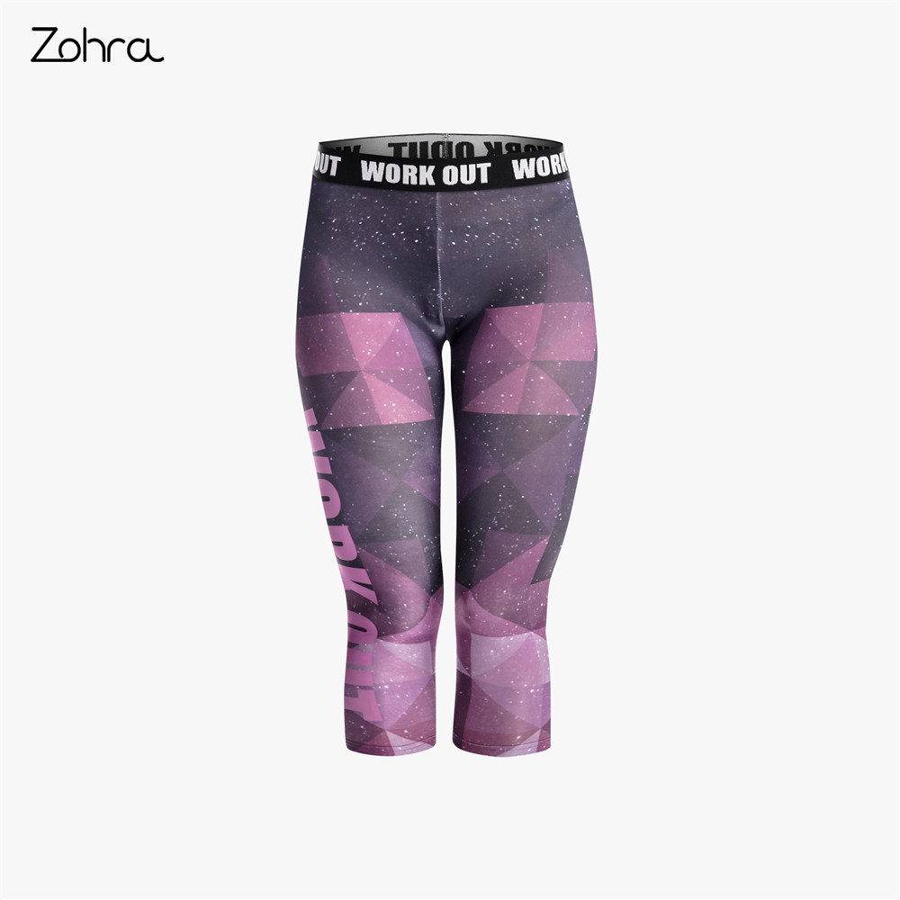 Zohra High Elasticity Women Capri   Leggings   Purple Sky Printing Mid-Calf 3/4 Fitness Movement Leggins Capri Pants