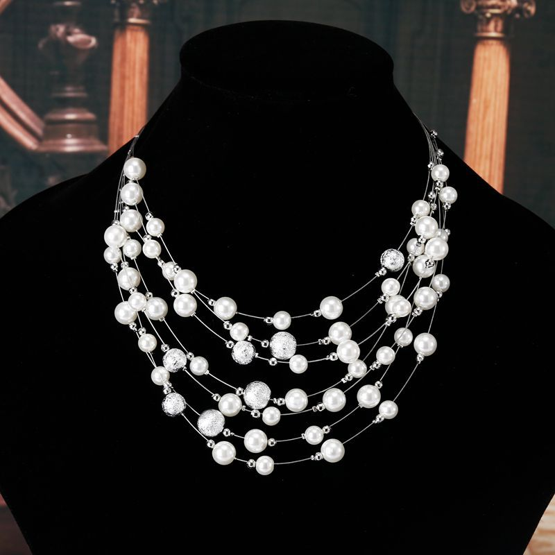 KMVEXO 2018 New Fashion Jewelry Gold Color Multi Layer Chains Imitation Pearl Necklaces For Women Party Wedding Bride Necklace 3