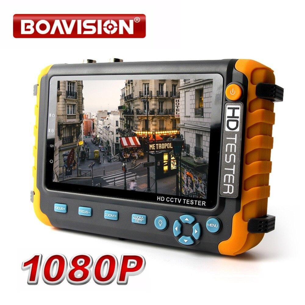 1080 P 4 en 1 TVI AHD CVI analógico CCTV cámara de 5 pulgadas TFT LCD construir en la batería de seguridad probador de Monitor de Audio y Video de prueba