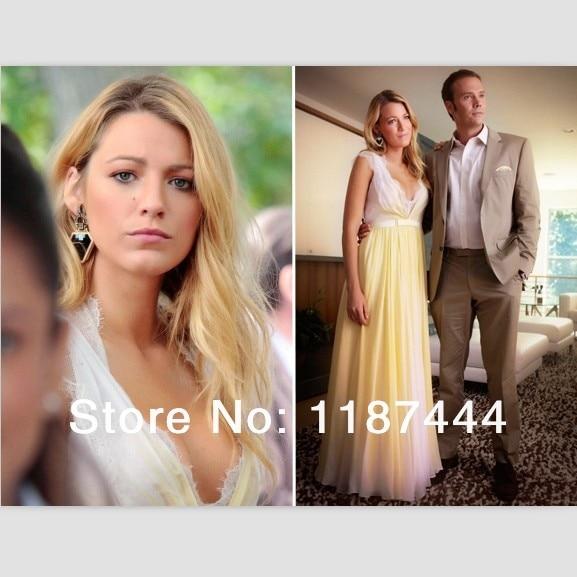 Blake Lively (Serena van der Woodsen) Yellow Chiffon Lace Prom Dress ...