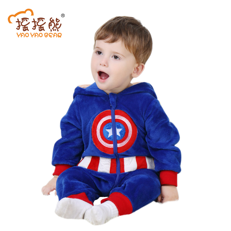 Baby Romper captain america costume Long Sleeve 3m-24m Boys Girls Clothes Warm Velvet Jumpsuit Boys Outwear Clothes YAOYAO BEAR