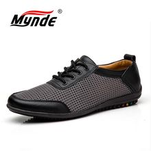 MYNDE Plus Size 38-46 Men Shoes Men Genuine Leather Shoes Summer Breathable Mesh Lace up Flats Light Male Footwear Dropshipping