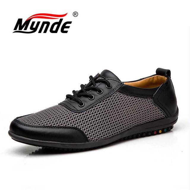 Mynde más tamaño 38-46 hombres Zapatos hombres Cuero auténtico Zapatos malla transpirable verano Encaje hasta pisos luz hombre calzado dropshipping