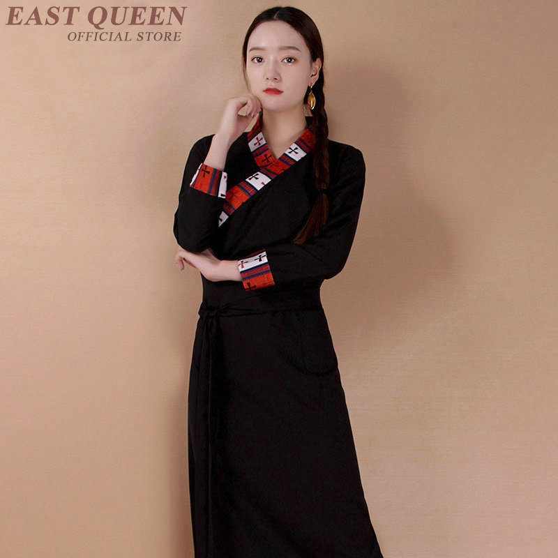 Traditional Tibetan Dress Clothing Femalle Ladies Oriental Chinese Moden Long Qipao Cheongsam Dress For Women AA4049