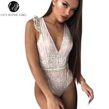 Lily Rosie Girl Sexy Shine Sequins Mesh Women Bodysuits Romper Ruffles Shoulder Deep V Sleeveless Backless 2017 Elagent Jumpsuit(China)