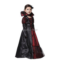 Halloween Black Vampire Princess Children Halloween Costume Lace Dress Necklace Set Kid Party Dress Performance Cosplay