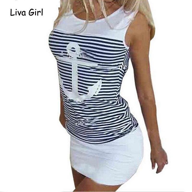 Verão Plus Size Mulheres Vestido Sem Mangas Casual Branco Azul Âncoras Impressão Vestido Listrado Praia Sexy Bodycon Mini Vestido Dropshipping