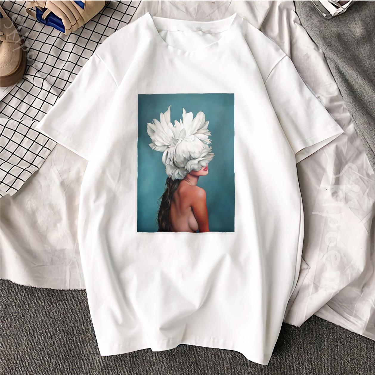 New Cotton Harajuku Aesthetics Tshirt Sexy Flowers Feather Print Short Sleeve Tops & Tees Fashion Casual Couple T Shirt 1