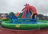 PVC Tarpaulin Commercial Inflatable Water Slide With Water Pool For Rental Big Inflatable Slide