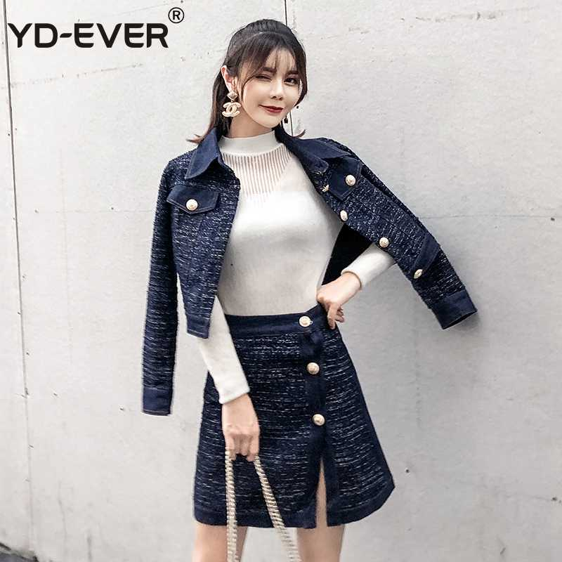 2f521d1aeb YD-EVER Tweed Denim 2 Piece Set Winter Women Gold Single-Breasted Long  Sleeve