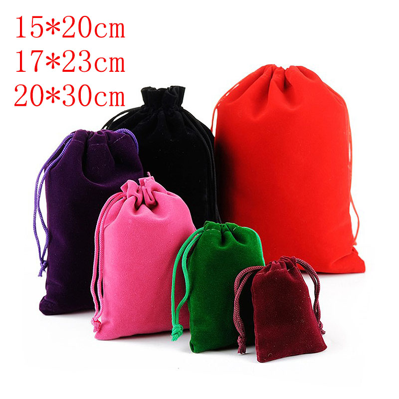 5pcs/lot 15*20cm 17*23 20*30 Large Size Velvet Pouches Jewelry Packaging Display Drawstring Packing Gift Bags & Pouches Brand