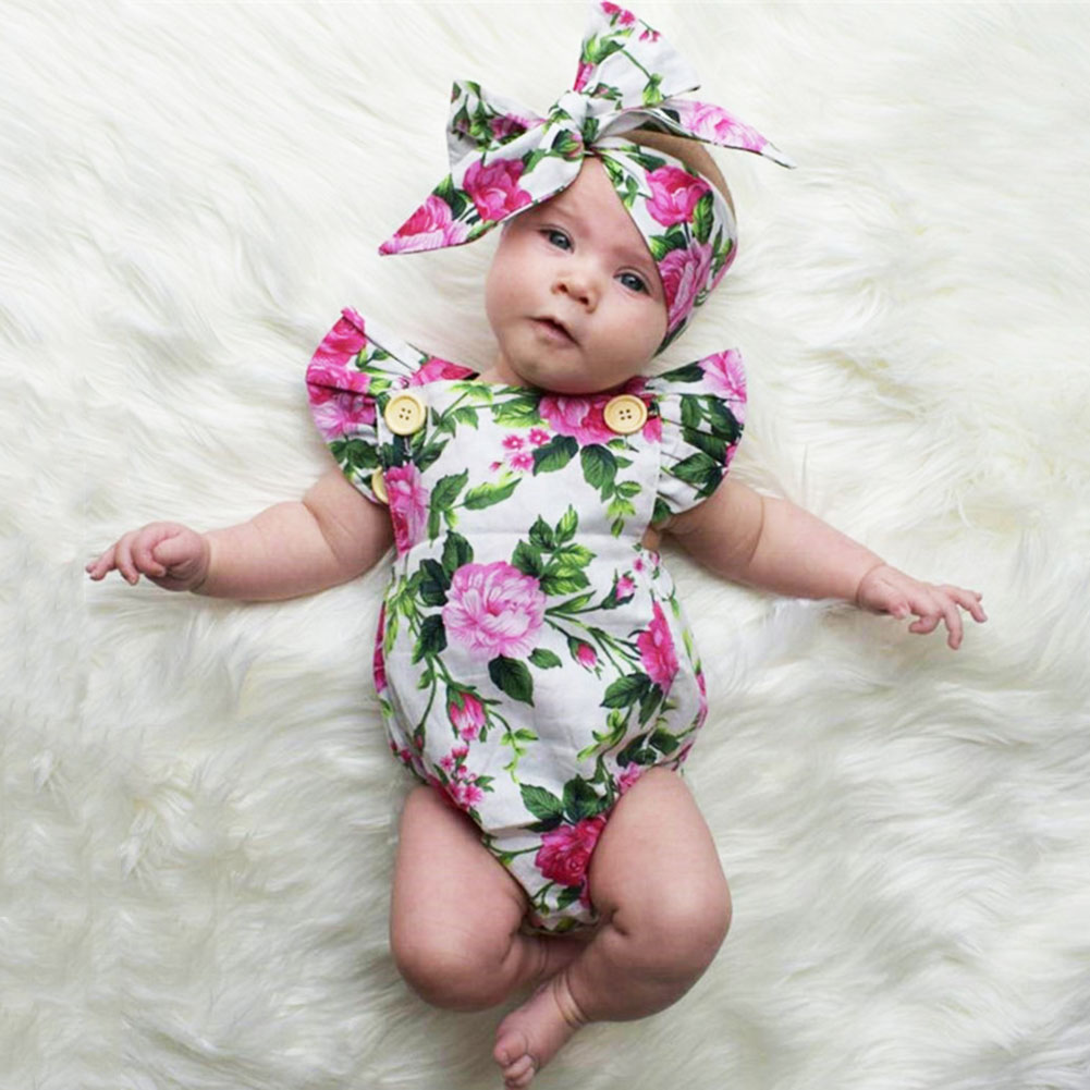 2pcs Cute Infant Baby Girls Floral Sleeveless Ruffles Romper Playsuit +Headband Summer Sunsuit Clothes Backless Outfits Set 0 24m floral baby girl clothes set 2017 summer sleeveless ruffles crop tops baby bloomers shorts 2pcs outfits children sunsuit