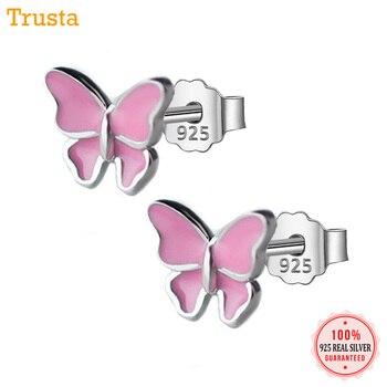0fddac95c677 Trusta 100% pendiente de Plata de Ley 925 de moda lindo Rosa 10mm X 8mm  mariposa Stud pendientes de regalo para la escuela las niñas niños dama DS32