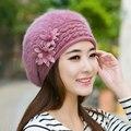 Nuevos 2017 Sombreros de invierno para Las Mujeres Boina sombrero de Piel de Conejo Real gorras planas casual de las señoras boinas boina de punto calidez hueso lindo cap