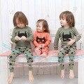 Primavera 2016 ropa niños establece BATMAN máscara de dibujos animados patrón tirón grueso sobre los pantalones pantalones pantalones bebé niña cabritos de la ropa conjuntos