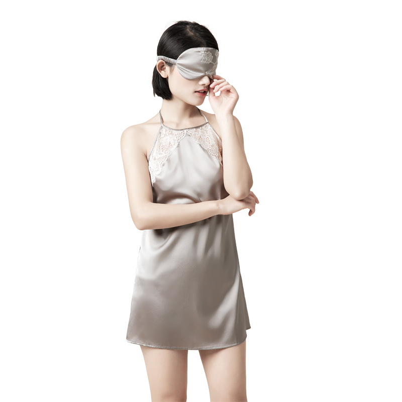 3d817bfbf5 Women 100% Pure Silk Nightgowns Lace Sleepwear Halter Night Dresses Gowns  Mulberry Silk Sexy Lingerie Nightgowns for Women-in Nightgowns    Sleepshirts from ...