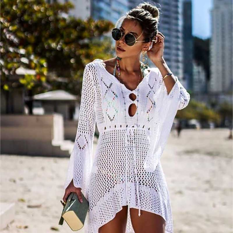 MOSHENGQI Bikini Cover Up Bathing Suit Sexy Pullover Swimsuit Knitted Swimwear Mujer Summer Beach Dress Wear Crochet See-through