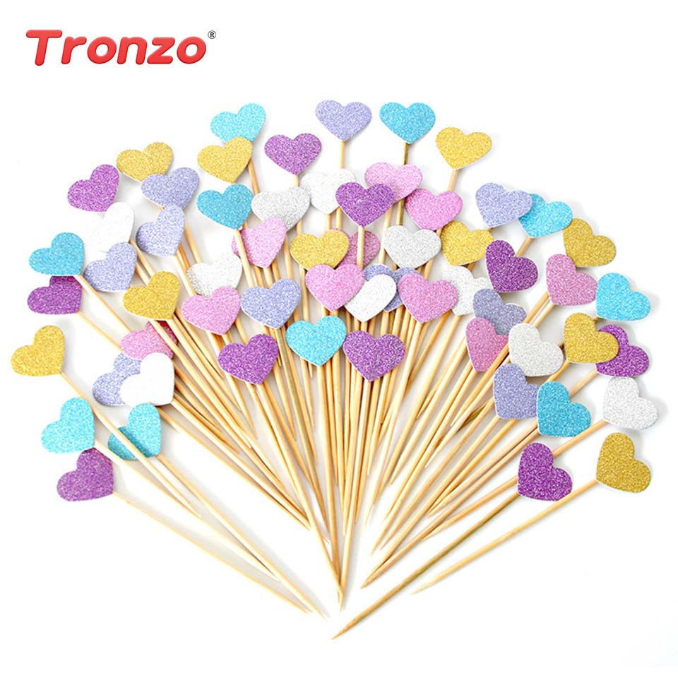 Tronzo 40pcs Cupcake Toppers Golden Mix Color Heart Star Paper Cake Toppers Children Favors Decorations For Wedding Baby Shower