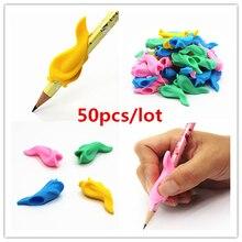 50 шт., эргономичная ручка-карандаш для мальчиков и девочек, универсальная ручка для рукописного письма, аксессуары для профессиональной терапии, детская ручка для контроля, правая Силиконовая ручка