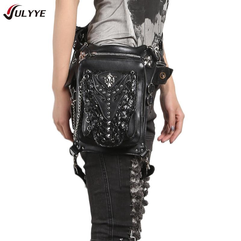 YULYYE New Quality Rivets Leg Drop Bag Punk Rock Hip Bum Pouch Crossbody Shoulder Bags Rider Hip Leg Belt Bum Waist Holster Bags camouflage detail bum bag
