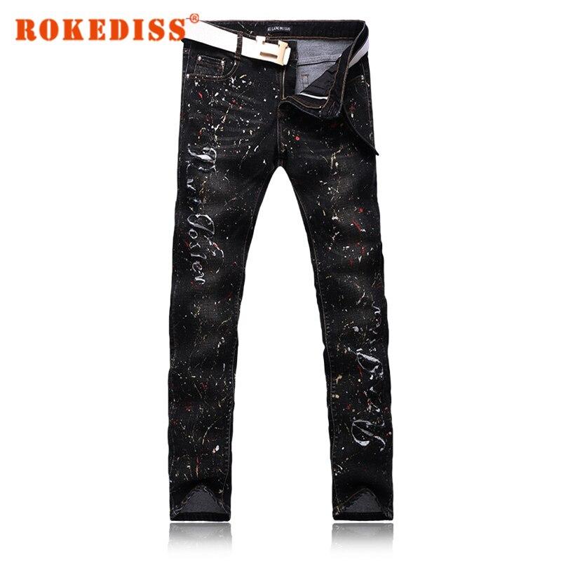 Skinny jeans men Slim Foot pants pencil jeans black Hole pantalones vaqueros hombre denim overalls fake