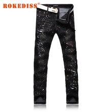 Узкие джинсы мужчин Slim Ноги штаны карандаш джинсы черная Дыра pantalones вакеро hombre джинсовые комбинезоны поддельные дизайнер одежды G223