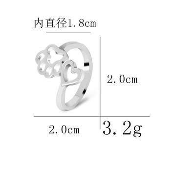 simple adjustable hollow Pet paw prints heart rings women animel Dog Cat lover Ring men Cute Puppy Paw Memorial Ring Jewelry 3