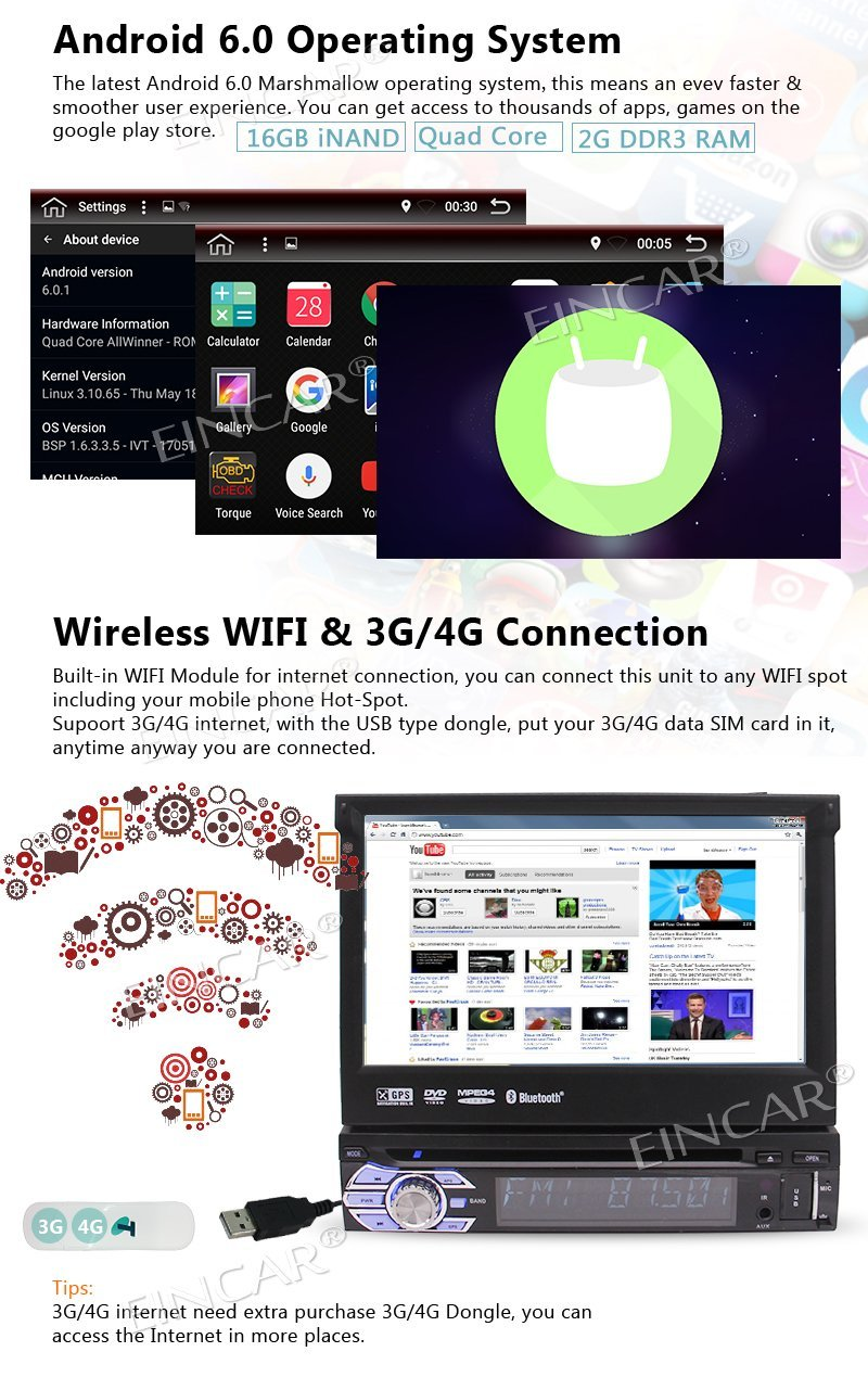 Android 6.0 lecteur DVD Auto radio stéréo 1 Din + GPS, Bluetooth, RDS, WIFI, écran tactile + caméra de recul + télécommande - 2