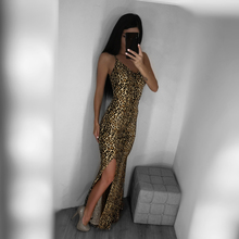 Summer Leopard Sleeveless V Neck Maxi Dress Side Slit Leopard Party Dress Floor Length Dress недорго, оригинальная цена