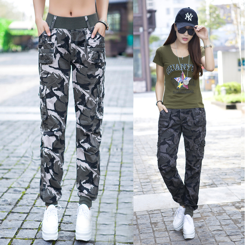 Spring Autumn Multi-Pocket Overalls Camouflage Casual Pants Plus Size Fashion FemaleTrousers