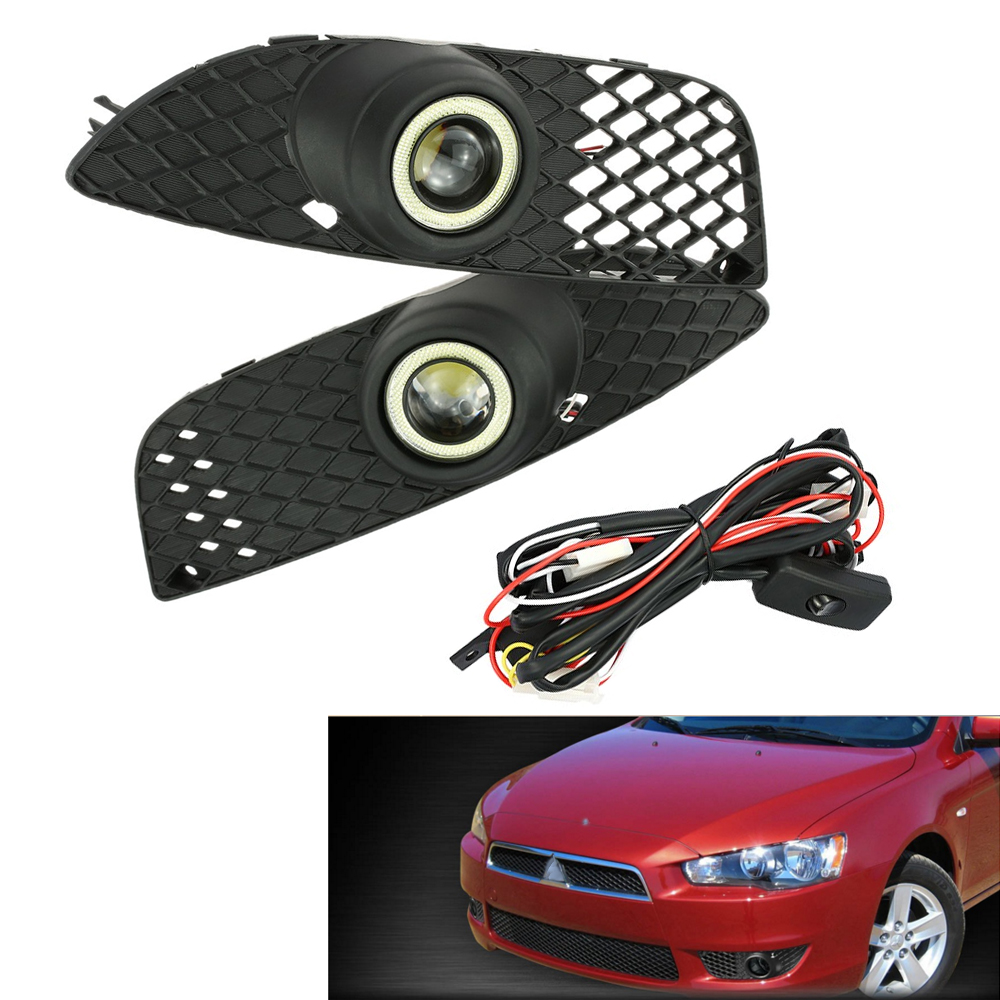 One Pair of Bumper Grille Grill Fog Lights LED Lamp angel Angel Eyes with Wiring Switch Kit for Mitsubishi Lancer 2008-2014 teana angel eyes led head lights for nissan 2008 11 v4 type