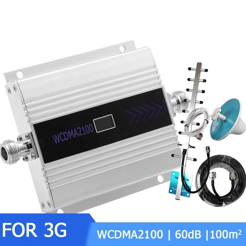 Amplificateur de Signal de téléphone portable 3G WCDMA 2100 MHz Booster de Signal 3G 2100 MHz UMTS Gain de répéteur de Signal amplificateur WCDMA de téléphone portable 60dB avec antenne-