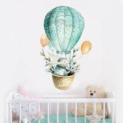 Cartoon wall sticker kids room decoration Rabbit hot air balloon home decor nordic style Watercolor painting Baby room diy art