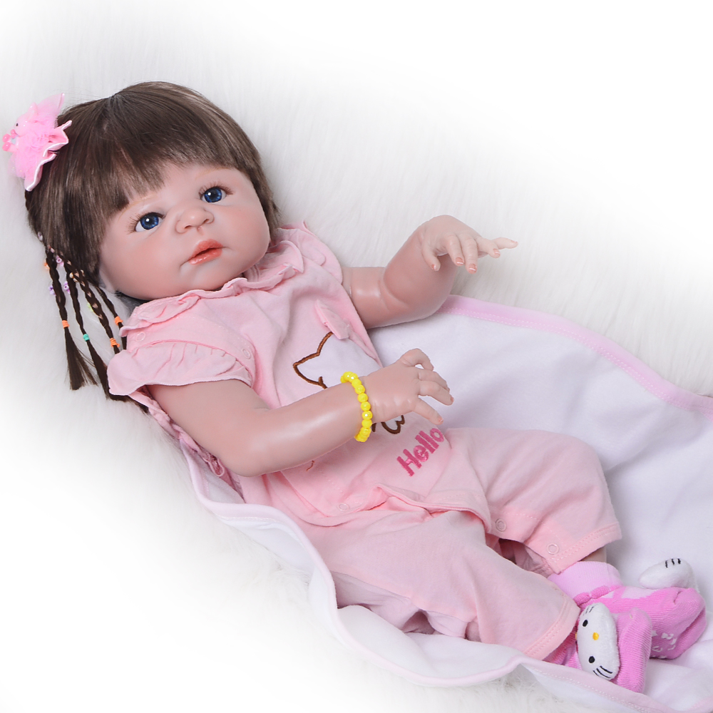 23 Inch Lifelike Full Silicone Vinyl Reborn Baby Doll Realistic 57 cm Newborn Dolls For Princess Girl Children Birthday Gift fashion 40 cm american girl dolls soft vinyl princess doll lifelike silicone reborn baby dolls cheap birthday gifts for children