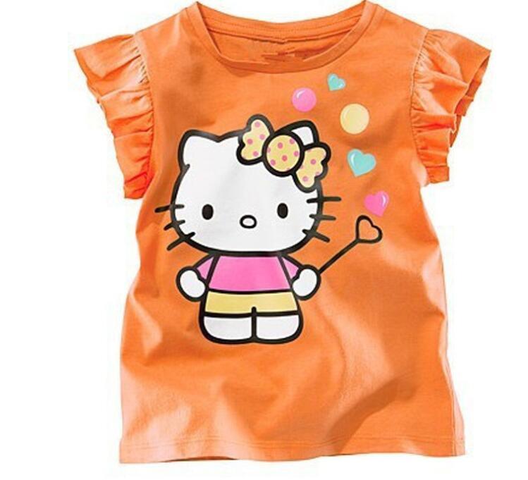 Baby Girls Summer Top Cotton Hello Kitty T-shirts 2-6Years Kids Girls Short Sleeve Teeshirts Clothes