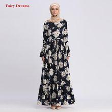 c7a29e7e219 Abayas Pour Femmes Islamique Vêtements À Manches Longues Fleur Imprimer  Maxi Robe Musulmane Bangladesh Caftan Dubai Turquie .