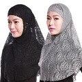 Женская Цветочные Кружева Мусульманских Исламский Хиджаб Платки Мягкий Шеи Обертывания Cap + Шарф Наборы