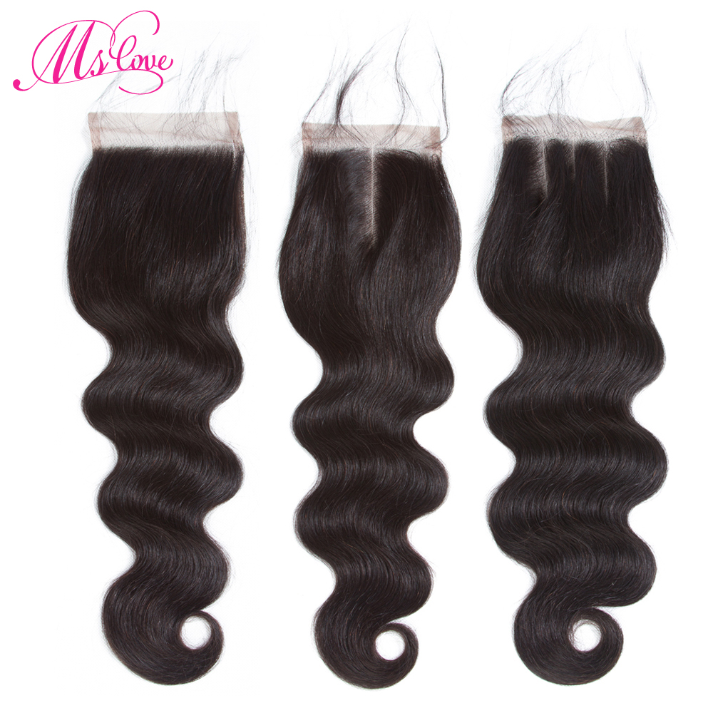 Ms Love 4x4 Lace Closure Brazilian Human Hair Body Wave 8-20 Inch Natural Color Non- Remy Hair Weaving 1PC/Lot Free Shipping