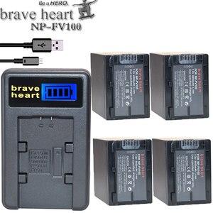 NP FV100 NPFV100 FV100 Camera Battery + LCD USB Charger for SONY NP-FV30 NP-FV50 NP-FV70 SX83E SX63E FDR-AX100E