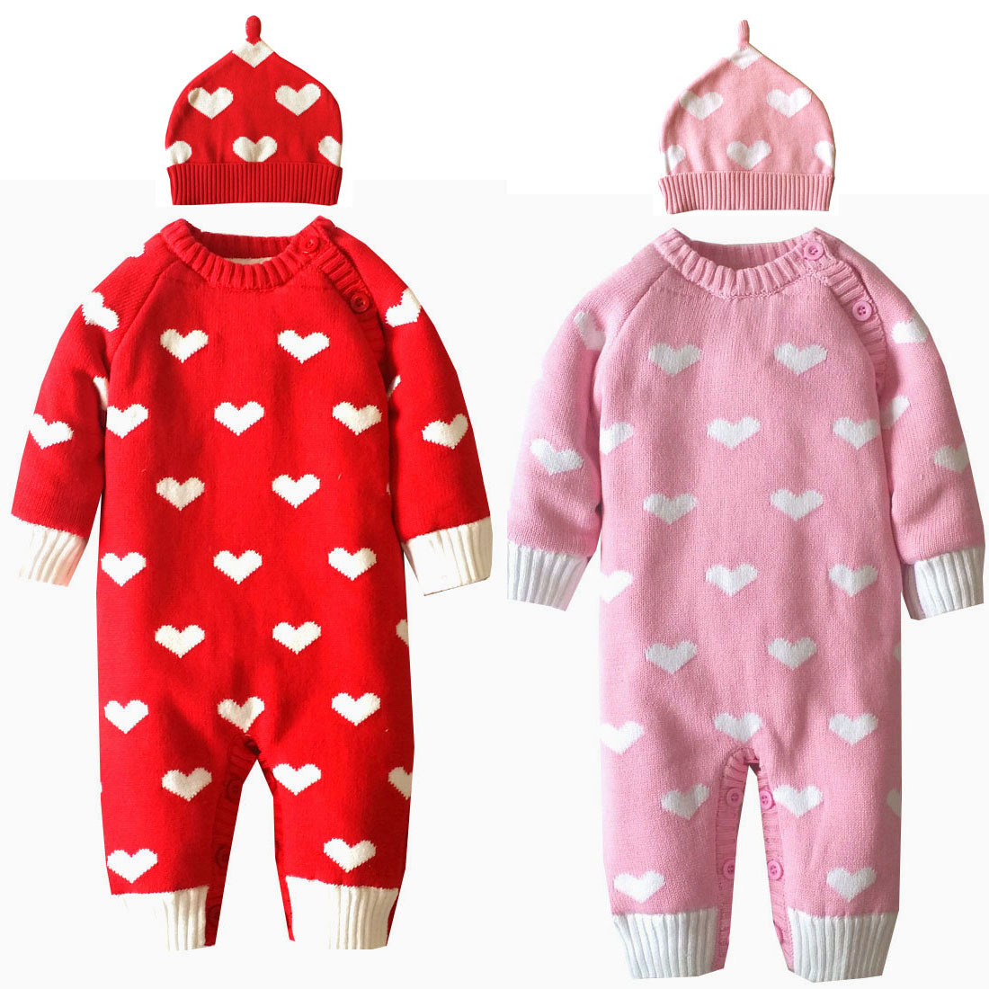 Baby Rompers Winter Thick Climbing Clothes Newborn Boy Girls Warm Romper Knitted Sweater Christmas Heart Hooded Outwear with Hat winter baby rompers organic cotton baby hooded snowsuit jumpsuit long sleeve thick warm baby girls boy romper newborn clothing