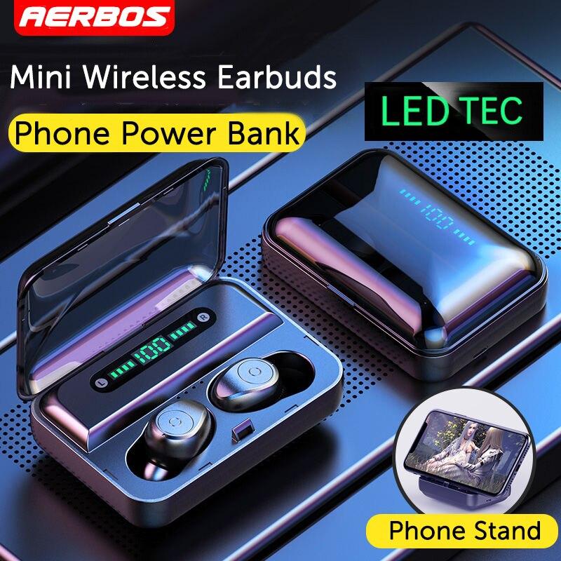 AERBOS Bluetooth 5.0 Wireless Earbuds IPX7 Waterproof Wireless Headphones Headset LED Display Stereo Hi-Fi Sound Earphones