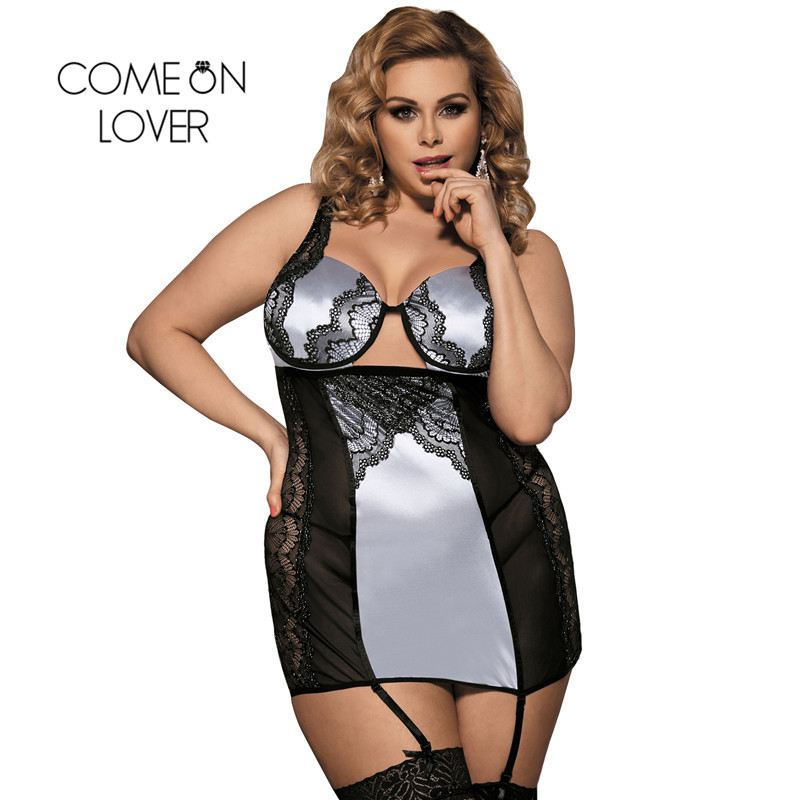 Comeonlover Sexi Dress Hot Underwire Molded Cups Women Sexy Costume Lingerie Babydoll Tenue Porno Sexe Big Size Lingerie RI70345