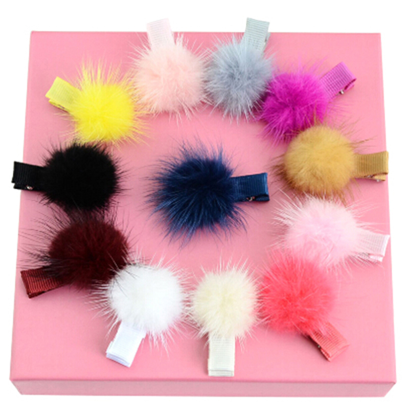 12Pcs/lot 4.5cm Candy Color Baby Girl Pom Pom Ball Hair Grips Clips Fashion Mink Fur Pompon Hair Ties Hairpin Accessories