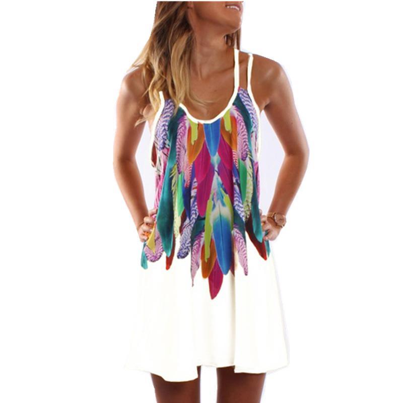 Mujeres moda 2017 Boho estilo sexy impreso más tamaño mujeres ropa casual verano playa Femme vestidos vestido WS804Y