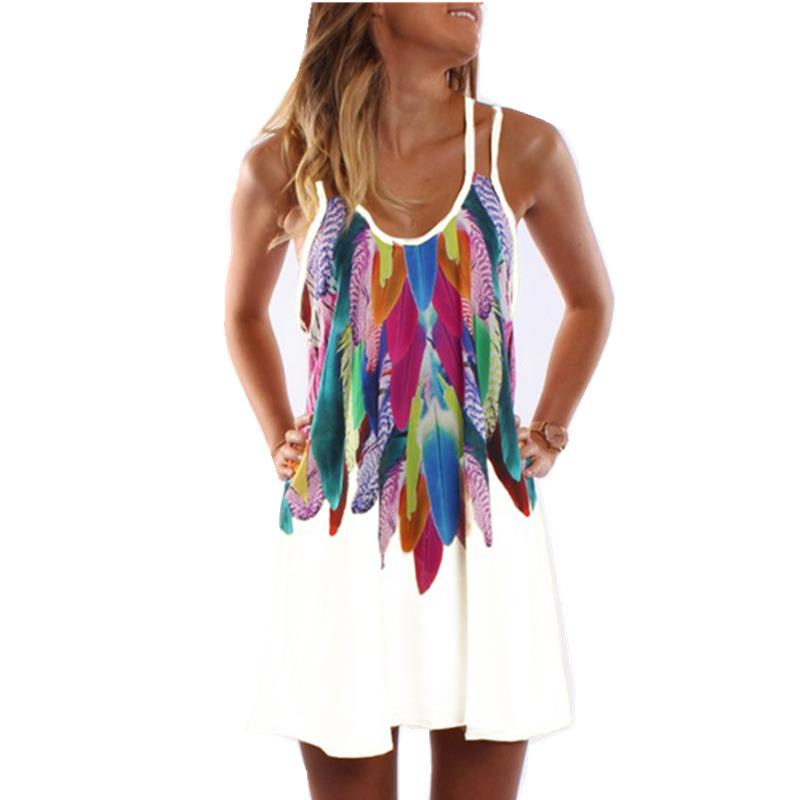 Women Fashion 2017 Boho Style Sexy Printed Plus Size Women Clothing Casual Summer Beach Femme Robe Vestidos Dress WS804Y