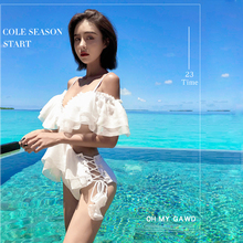 Korean solid Swimsuit Sexy Off The Shoulder Ruffle One Piece Swimwear Women Retro Bikini Bathing Suits Beach Wear Swim