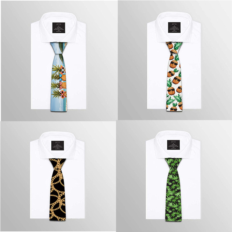Classic Fashion Mens Tie Maple Leaf Food 3D Printing Neckties Polyester 8 Cm Width Printed Tie Casual Men Tie For Party 5QR-LS08